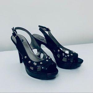 Guess Black Patent Leather Studded Platform Heels